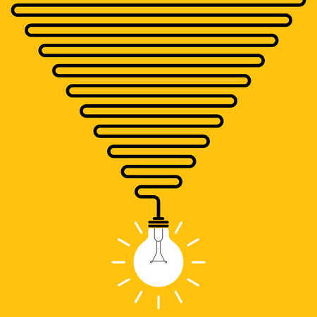 New bright idea concept vector on yellow background.
