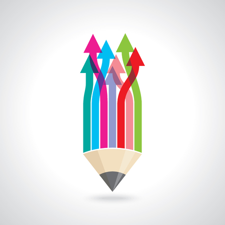 onwards: Creative concept of business arrow with pencil.