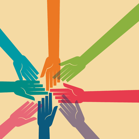 Praca zespołowa Ludzie, trzymając się za ręce. Projektowanie dla pracy zespołowej koncepcji ilustracji