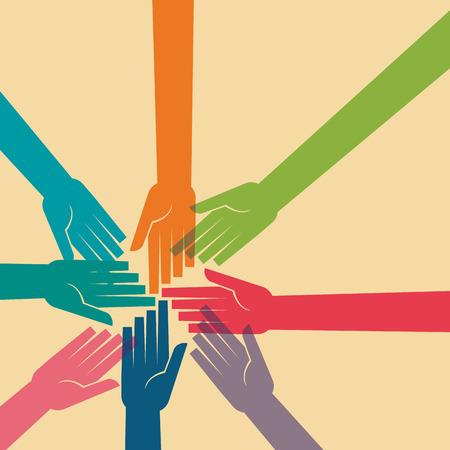 obra social: Trabajo en equipo, de la mano. Diseño para el trabajo en equipo concepto ilustración