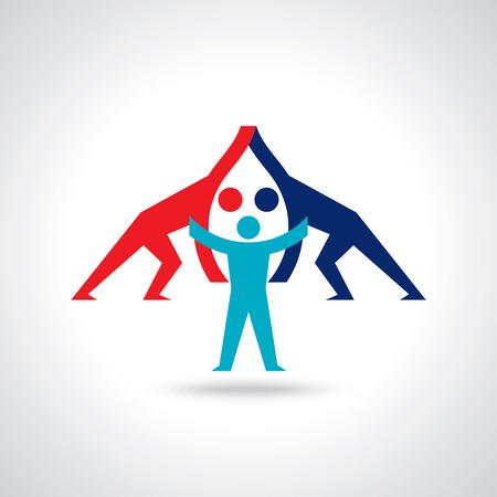 website design: Teamwork People, Holding hands. Design for teamwork concept illustration