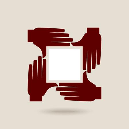 팀웍 사람들은 손을 들고. 팀워크 개념 그림 디자인