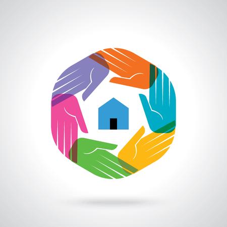 Travail d'équipe Personne humaine, Tenir la main. Design for concept d'équipe illustration
