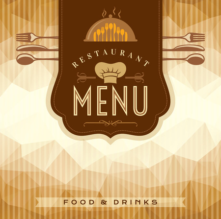paper delivery person: Restaurant menu card design template, Creative vector.