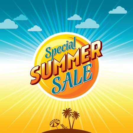 Summer Sale banner design template for promotion Banco de Imagens - 74869756