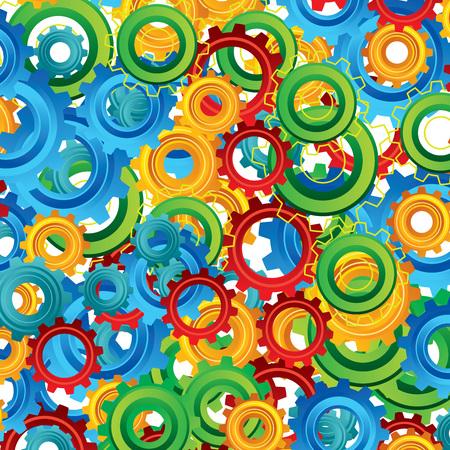 industry: Background pattern cogwheel. Factory concept. Flat design Illustration