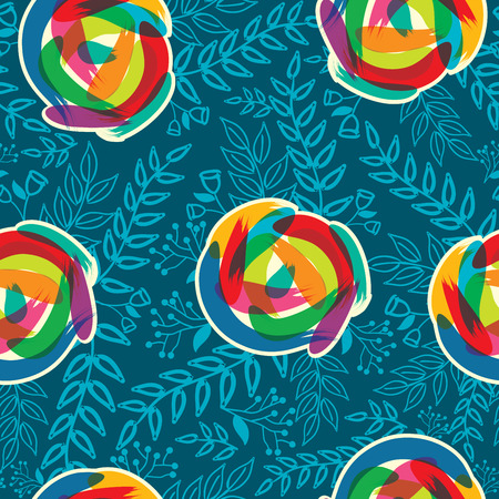 textured backgrounds: Abstract Nature Pattern with plants, flowers. Endless pattern can be used for wallpaper, pattern fills, web page background, surface textures.Retro wallpaper, background, fabric and interior design usage