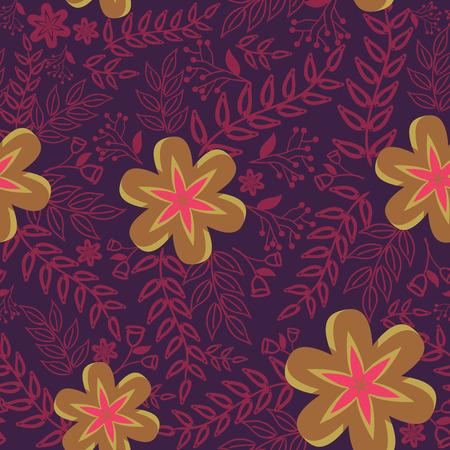 Résumé Motif de la nature avec des plantes, des fleurs. motif sans fin peut être utilisé pour le papier peint, motifs de remplissage, le fond de page web, textures.Retro surface de papier peint, fond, le tissu et l'utilisation de la décoration intérieure Vecteurs