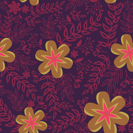 Abstract Nature Pattern with plants, flowers. Endless pattern can be used for wallpaper, pattern fills, web page background, surface textures.Retro wallpaper, background, fabric and interior design usage