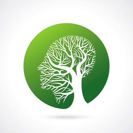 human head growing in the shape of tree Illustration