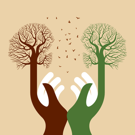Retten Sie umwelt speichern Baum, kreativer Vektor mit den Händen.