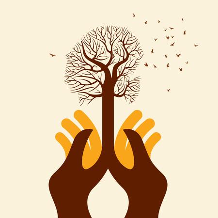 Speichern Sie umwelt speichern Baum, kreativer Vektor mit den Händen. Illustration
