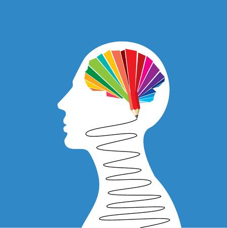 Thinking brain a creative idea with pencil