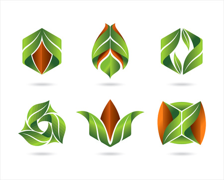 Flat leaves icons. Vector natural symbols with leaf. Ilustração