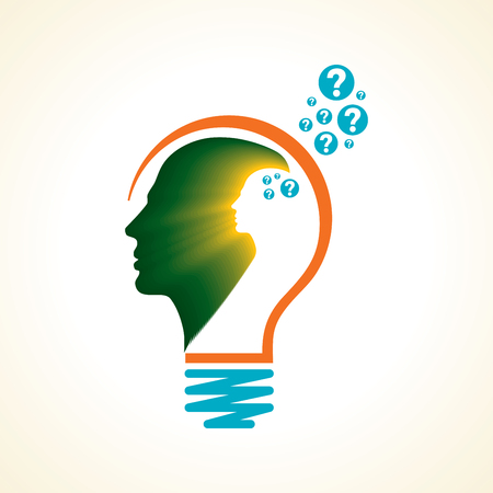 Idea solution bulb human man head brain concept illustration art Çizim