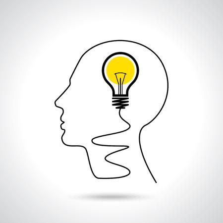 아이디어 솔루션 전구 인간의 머리 두뇌 개념 일러스트 레이션 아트 일러스트