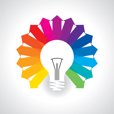 Arrow out of the bulb show different creative word stock vector