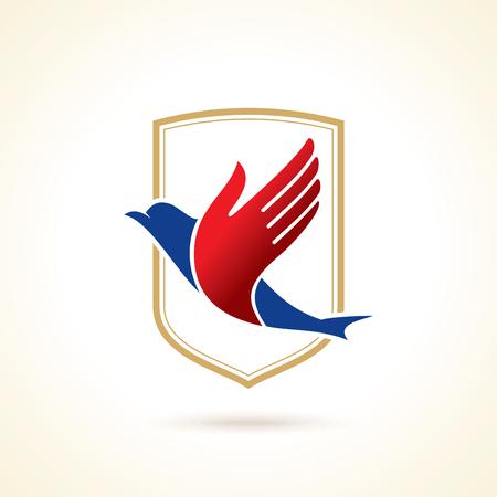 Vogel mit der Hand als Flügel kreative Idee, kreatives Symbol Illustration