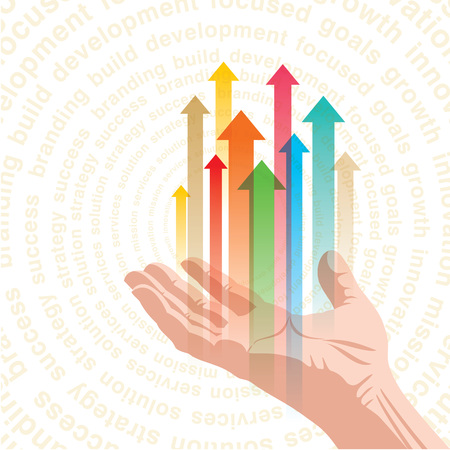 Menschliche Hand drücken die Business-Diagramm Pfeile