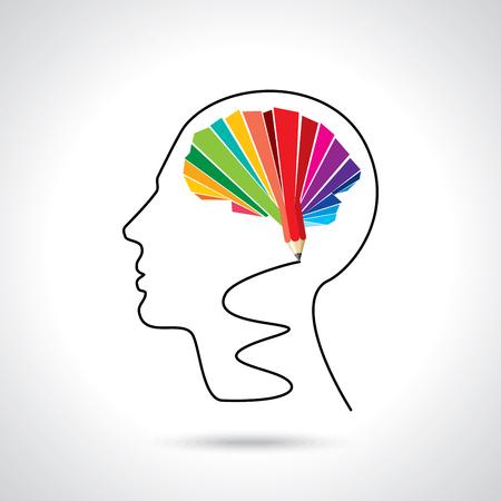 thinking brain a creative idea with pencil Ilustrace