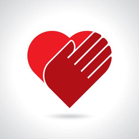 Herz in den Händen auf einem weißen Hintergrund. Farbsymbol