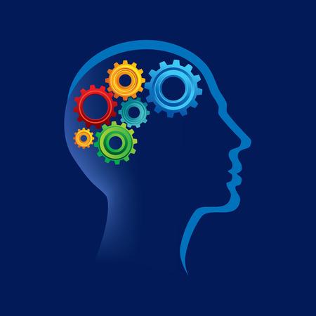 Konzept der Funktionsweise des menschlichen Körpers und des Gehirns mit Gängen Illustration