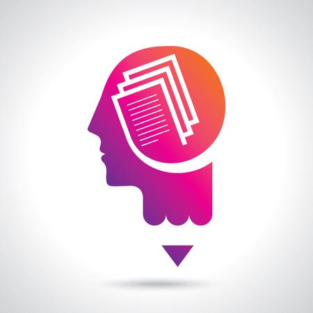 thinking brain a creative idea with pencil Illustration