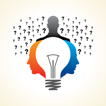Idee Lösung Birne menschlichen Mann Kopf Gehirn Konzept Illustration Kunst