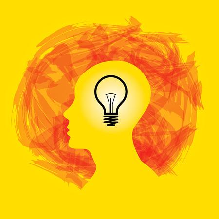 Idea solution bulb human man head brain concept illustration art Illustration