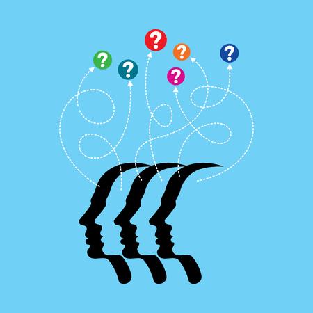 Gedachten en opties illustratie van hoofd met pijlen Stock Illustratie