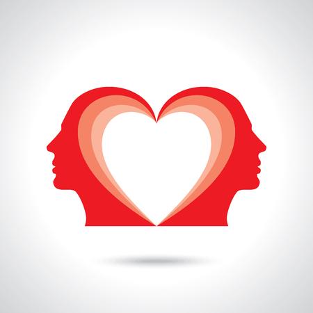 Männliche Figur, die sich mit Herzensymbol in ihrem Kopf gegenübersteht