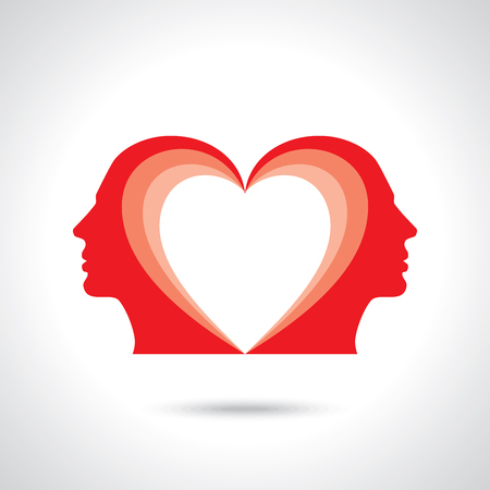 Male figure facing each other with heart symbol in their head Vectores