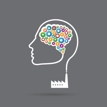 Concept of the functioning of the human body and the brain with gears