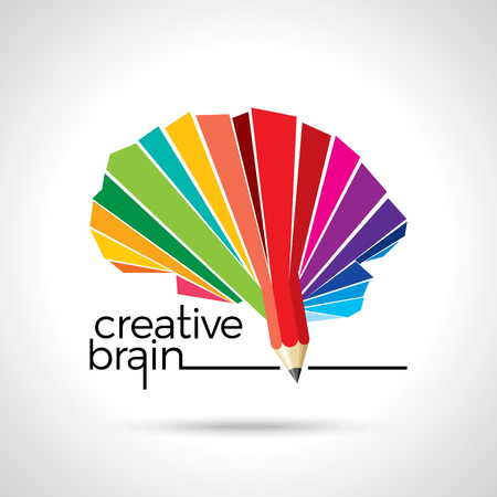 thinking brain a creative idea with pencil Ilustração