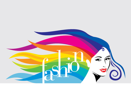 カラフルな髪の女の子のファッションのイラスト。ファッションの女の子。パーティの招待状。  イラスト・ベクター素材