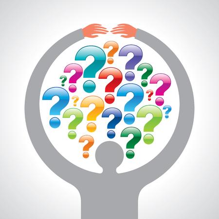 Question en mains d'homme d'affaires Banque d'images - 77018575
