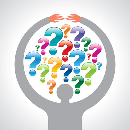 Question in businessman hands Stock Vector - 77018575