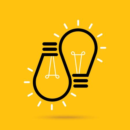 Vector flat light bulb. Modern light bulb icon. Concept ideas, innovations Illustration