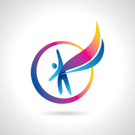 Erfolg, Führung und Sieg Ikonen und Symbole mit Freude Illustration