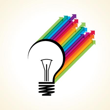 Pfeil aus der Glühbirne zeigen verschiedene kreative Wort Stock Vektor Illustration