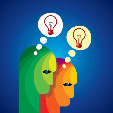 Idea solution bulb human man head brain concept illustration art Ilustrace