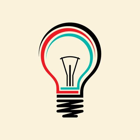 lamp light: Vector flat light bulb. Modern light bulb icon. Concept ideas, innovations Illustration