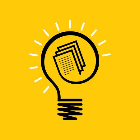 Idee und Wissenskonzept Design Glühbirne auf Buch Illustration