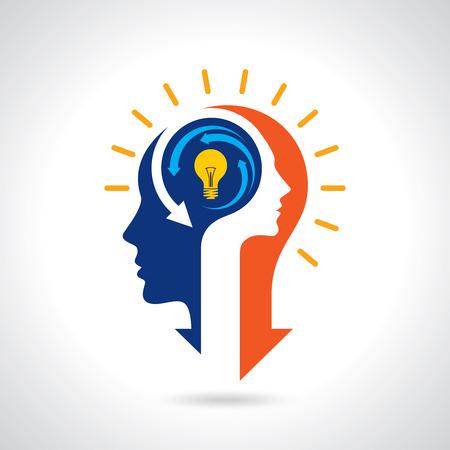 Idea solution bulbe homme homme tête cerveau concept illustration art Vecteurs