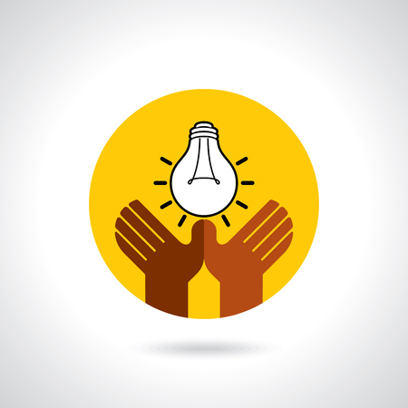 hand holding paper: Creative vector of teamwork concept