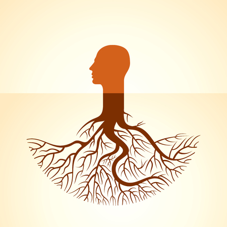 Menschlicher Kopf, grüne Gedanken