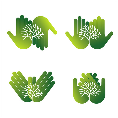 Ecological hand tree with green tree graphic design