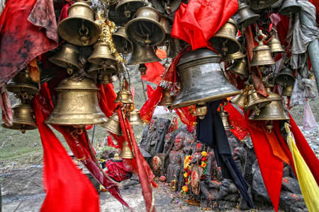 group of brass bells at Bhairavnath Temple, Near kedarnath. Uttarakhand state in India