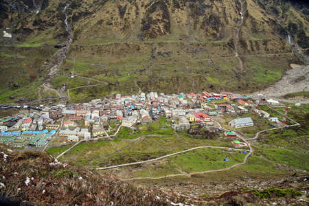 Aerial view of Holy kedarnath town, uttarakhand, india. 免版税图像