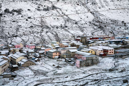 Aerial view of Holy Kedarnath town in winter season, uttarakhand, India.